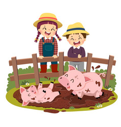 kids looking at pig and piglet playing vector image