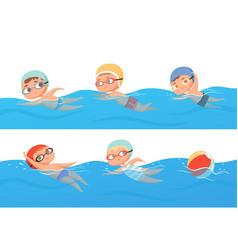 kids swimming happy children water sport in pool vector image