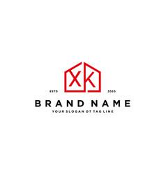 Letter xk home logo design concept vector