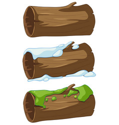 Log with snow and moss vector