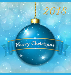 merry christmas decoration background with 3d blue vector image