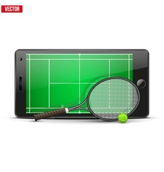 Mobile phone with tennis ball racket and field on vector image