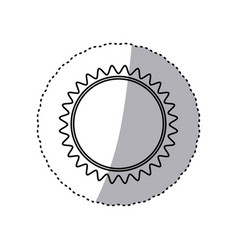 Monochrome contour sticker with sun close up vector
