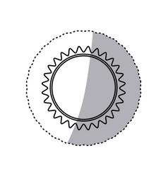 Monochrome contour sticker with sun close up vector