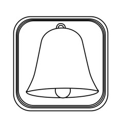 monochrome rounded square with bell icon vector image