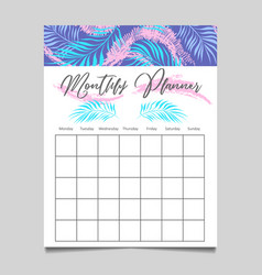 Monthly planner template design vector