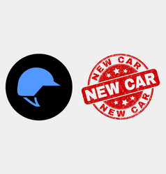 Motorcycle helmet icon and grunge new car vector