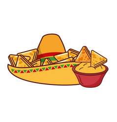 Nachos hat cheese cream mexican food traditional vector