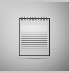 notebook icon on grey background spiral notepad vector image