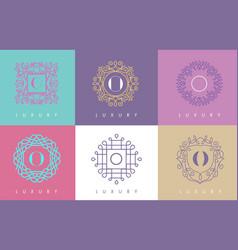 o letter pastel floral monogram lines logo design vector image