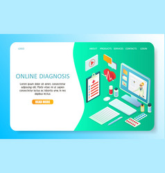 Online diagnosis landing page website vector