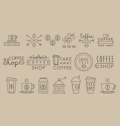 Original linear labels for coffee houses cafe and vector