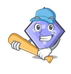 Playing baseball rhombus character cartoon style vector