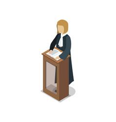 Prosecutor pronounce of sentence isometric element vector