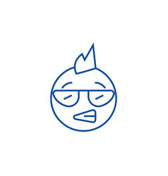 punk emoji line icon concept punk emoji flat vector image