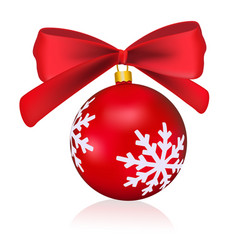 red christmas ball with a bow isolated on white vector image