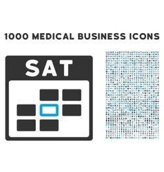 Saturday calendar grid icon with 1000 medical vector
