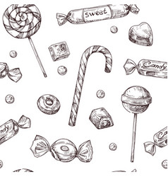 Seamless candy background sketch chocolate candy vector
