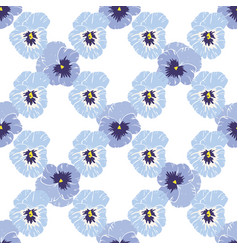 Seamless pattern with pansies flower on white vector