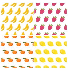 seamless patterns set with fruits Healthy food vector image vector image