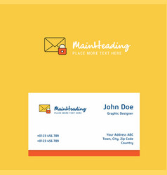 secure mail logo design with business card vector image