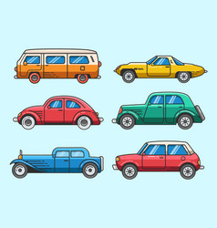 Set classic car icon and elements vector