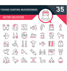 set flat line icons mushrooming fishing vector image