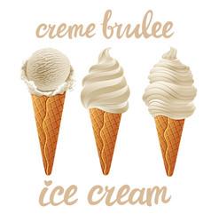 set of beige ice cream with vanila of different vector image