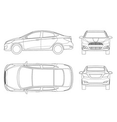 Set of sedan cars in outline compact hybrid vector