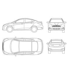 set sedan cars in outline compact hybrid vector image