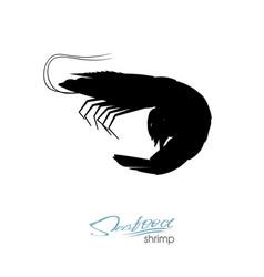 Silhouette shrimp linear silhouette shrimp vector