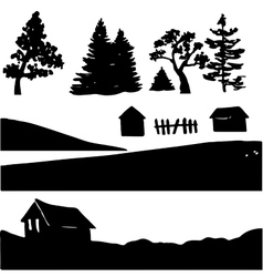 Silhouettes rural elements vector