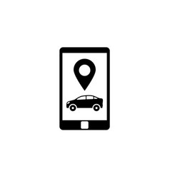 Smartphone with taxi service flat icon vector