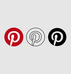 social media icon set for pinterest in different vector image