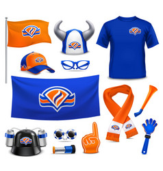 sport supporters fans accessories realistic set vector image
