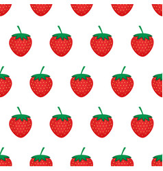 Strawberry background seamless pattern with red vector