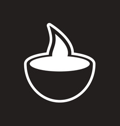 Stylish black and white icon indian candle vector