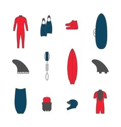 Surfing goods icons vector