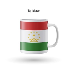 Tajikistan flag souvenir mug on white background vector