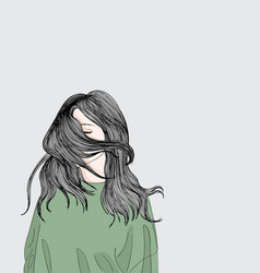 the girl stands outside her sad vector image