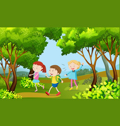 Three kids walking in the woods vector