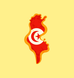 Tunisia - map colored with tunisian flag vector