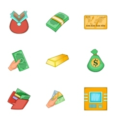 Types of money icons set cartoon style vector