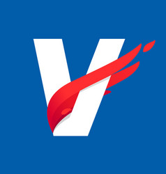 V letter logo with fast speed red bird wing vector