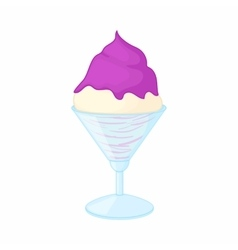 Vanilla ice cream with blueberry sauce icon vector