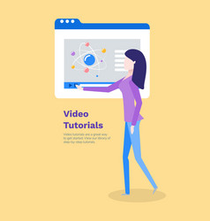 video tutorials woman learning new information vector image