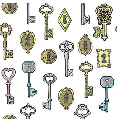 Vintage keys golden and silver and keyholes vector