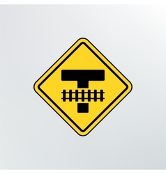 Warning traffic Railroad crossing icon vector image
