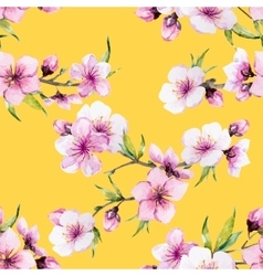 Watercolor sakura pattern vector
