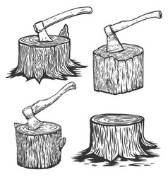 wood slices with axe wood stumps in engraving vector image